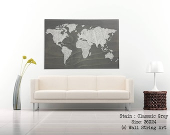 Rustic Wood World Map - Wooden sign - World Map String Art - Christmas gift  - String art  - Home Decor - Wall Decor - Wood World Map