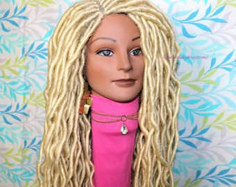 "READY TO SHIP  //Synthetic crochet wig "" Wait ,What !!!, you a blonde???""(Loc n Wave"" (20 inch)"