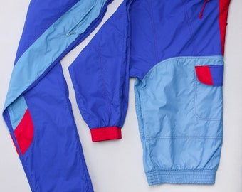 """Vintage 80s colorful 1/4-Zip hooded Track Suit by """"NABHOLZ of Switzerland"""" - Gr. M"""