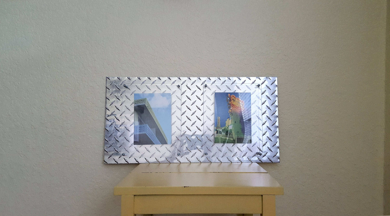 Diamond plate photo frame double mount for 2 photos with floating diamond plate photo frame double mount for 2 photos with floating acrylic and industrial mounts 5x7 8x10 diamond plate picture frame jeuxipadfo Choice Image