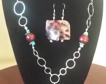 Metallic Hoop Necklace and Earrings Set
