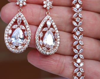 Rose Gold  Art Deco  Earrings  & Bracelet set , Bridal Earrings, Wedding Earrings, Vintage Style Crystal  Earrings, Zircon  Earrings