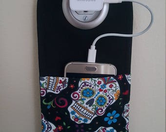 Sugar Skull Phone Charging Pouch, Cell Phone Holder, Smart Phone Outlet Pouch