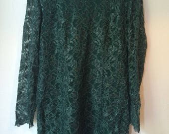 Vera Mont vintage green lace dress