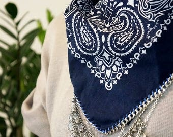 Navy Blue bandana with silver chain and charms | western boho style | coachella clothing