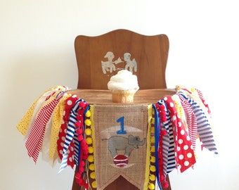 Circus First Birthday High Chair Banner / Carnival Elephant / One Cake Smash Photo Shoot Prop / Party Decor / Highchair Tutu /Wall Garland
