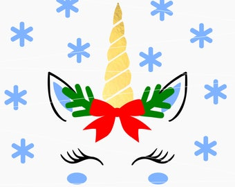 Christmas unicorn svg Christmas svg Unicorn svg Unicorn horn svg Snowflake svg files for Cricut Silhouette dxf  Unicorn cut file unicorn bow