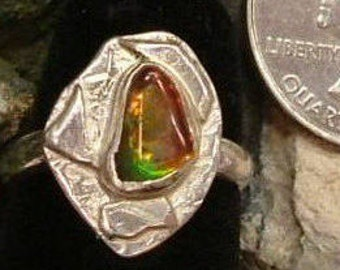 Ammolite Ring  Sterling Silver Size 6 1/2 Utah Gem Fossil Boho Statement Ring Dragon Eye Statement Jewelry Red Green Yellow Fire   257G
