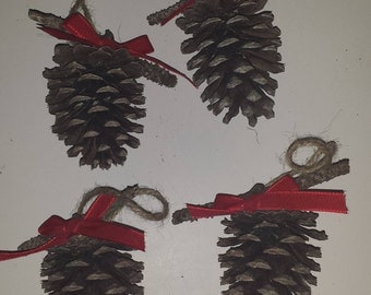 Rustic country pine cone Christmas  ornaments set of 4, ribbon color optional