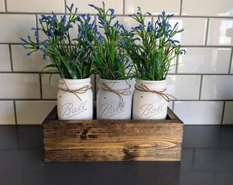 Spring Mason Jar Centerpiece - Mother's Day Gift - Painted Mason Jars - Spring Decor - Mason Jar Decor - Centerpiece - Wedding Decor