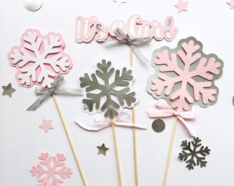 Snowflakes Centerpieces Winter Girl Baby Shower Centerpieces Onederland Decorations Winter Wonderland Girl Birthday Centerpieces Its a Girl