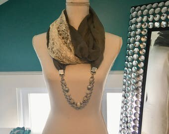 Scarf Necklace - Lacey Grey