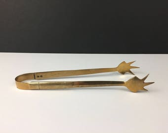 Vintage Brass Ice Bucket Claw Tongs