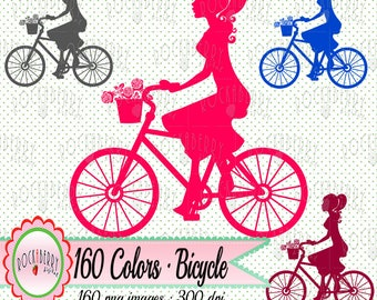 160 Colors - Bicycle Silhouette Clip art Digital Clipart Printable Lady on Bike Rainbow Color