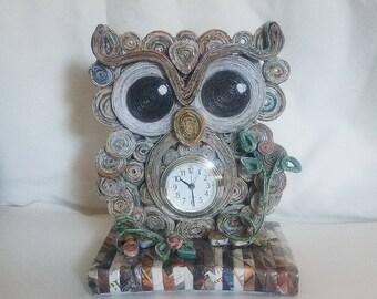 Re-purposed Paper Owl Clock