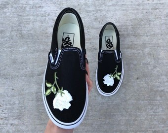 custom vans, slip on vans, floral vans, old skool vans, vans custom, vans rose, rose vans, vans, rose shoes, embroidered vans, women vans