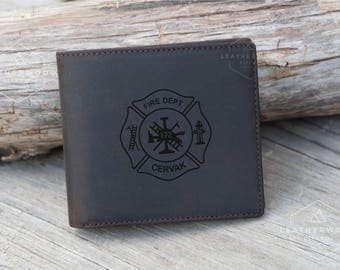 Fireman Gift, Personalized Leather Wallet, Firefighter Gift, Mens Bifold Wallet, Mens Leather Wallet, Husband Gifts, Christmas Gift for Him