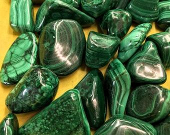 Malachite- Large tumbled stones- Extra Quality/ Wholesale Pricing
