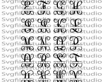 Split Vine Monogram Font SVG, interlocking vine monogram font svg, Interlocking vine monogram svg, files for Silhouette, Cricut Cut files