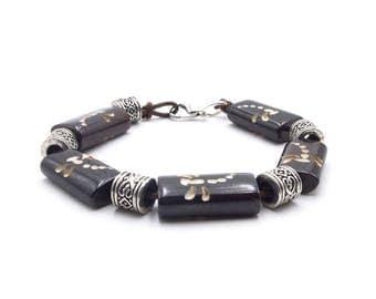 Bone Dragonfly Bracelet, Fashion Accessory, Healing Crystal Jewelry, Gemstones, Handmade In Canada