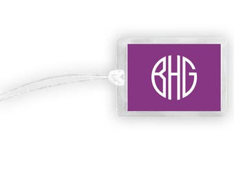 Monogram Luggage Tag, Personalized Luggage Tag, Monogram Tag, Luggage Tag Laminated, Vacation Gifts, Purple Luggage Tag,