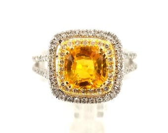 Diamond Rings, Rings, Engagement Rings, 14K Gold Rings, Statement Rings, Trending Jewelry, Yellow Sapphire, White Gold, Handcrafted Jewelry