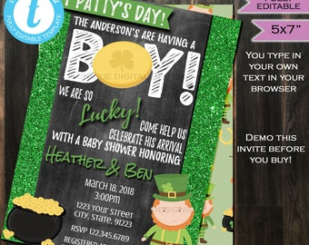 St Pattys Baby Shower Invitation St Patricks Lucky Baby Sprinkle Baby Boy Invite Chalkboard Template Custom Printable INSTANT Self EDITABLE