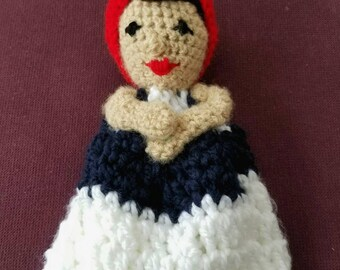 Rosie the Riveter lovey/ Feminist nursery/ Baby shower gift/ Baby's first doll/ Security blanket/ Blanket toy