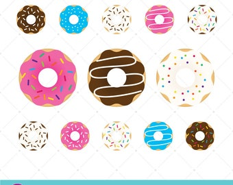 Donut Clip Art, Scrapbook Graphics, Bakery Food, DIY Print, Glazed Donuts, Rainbow Sprinkles, Chocolate Icing, Vanilla Donut, Cafe Art