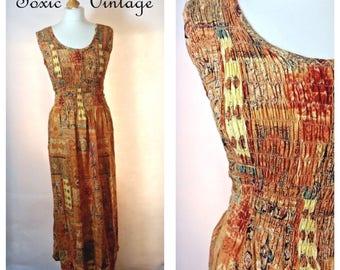 VINTAGE 1960's 1970's ETHNIC Print Maxi Dress, Size 10-12, Boho, Hippy, Retro, Summer, Festival, Vacation