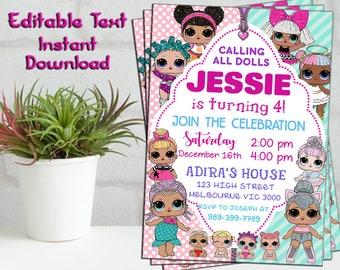 LOL SURPRISE Invitation, LOL Surprise Doll Party, Lol Doll Invitation, Lol Doll Birthday Party Lol Surprise Party Invitation, Lol Editable