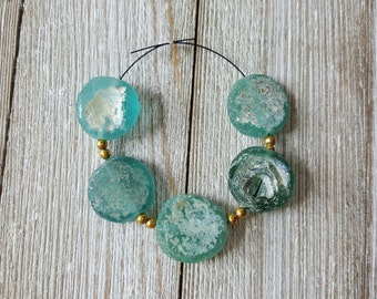 Large Sea Blue Green Ancient Excavated Pakistani Glass Coin Beads with Natural Patina 17mm, Destash