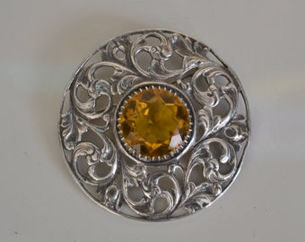 Antique Scottish Silver Brooch with a citrine stone.