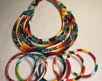 CLEARANCE - 30%! Adornment necklace, neck, chest and wax Ankara multicolored women bracelets