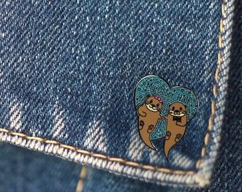 BUY 1, GET 1 Random Pin Free! Otter Enamel Pin My Otter Half Lapel Pin Love Pin Badge Cute Pin Hard Enamel Pin Boyfriend Pin Girlfriend Pin