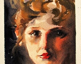 Portrait of little girl (inspired by Sargent). Watercolor 17.5x23 cm