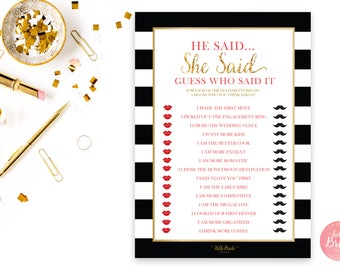 He Said She Said Printable Bridal Shower Game - Black, White & Gold - Bridal Shower Game - Instant Download