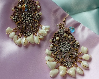 Earrings Mother of Pearl and Swarovski Crystal