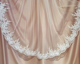 Vita Lace Edge Veil - Mid Length Lace Edge Bridal Veil by Miss Kay Seamstress