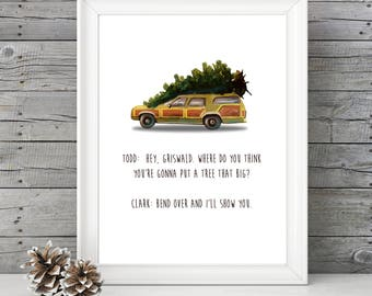 National Lampoon's Christmas Vacation - Bend Over and I'll Show You- 11x14 Christmas Holiday Home Decor Poster Sign - Griswald Movie Quote