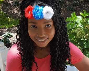 Red, White and Blue Flower Headband - Small