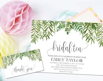 Bridal Tea Invitations, Bridal Tea Party Invitations, Greenery Bridal Tea, Boho Bridal Tea, Bridal Tea Party, INSTANT DOWNLOAD, A-BT1