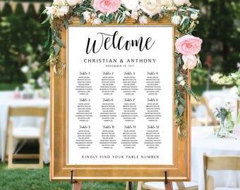 Wedding seating chart template, Wedding seating chart, wedding seating chart table, Wedding seating chart alphabet, Navy Seating chart, SC21