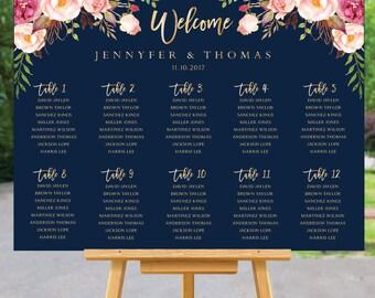 Wedding seating chart template, Wedding Seating Chart, Wedding seating poster, Navy seating chart, Seating chart, Alphabet chart, SC106