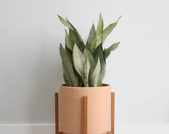 "Large - Mid-century Modern Planter with Oak Wood Planter Stand - 12"" Unglazed Ceramic (Terracotta)"