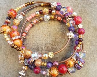Handmade, unique jewelry,wire wrap bracelet, semi-precious stones, beaded bracelet, boho style