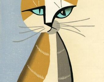 "Japanese Art Print ""Cat (Un)"" by Tomoo Inagaki, woodblock print reproduction, cultural art, asian art, Japanese cat, cubism, cat"