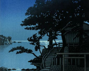 "Japanese Art Print ""Kakizaki Benten Shrine, Shimoda"" by Kawase Hasui, woodblock print reproduction, asian art, night, full moon, sea"
