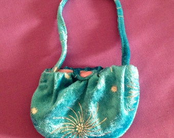 18 Inch Doll Blue Velvet Handbag, Doll Accessories, made to fit the Our Generation Doll and the American Girl Doll.