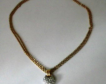 Collier coeur en strass et 2 chainettes/ S 80 Monet